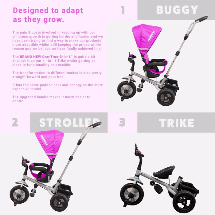 RiiRoo 3 Wheel Trike For Toddlers Ride On Buggy Handle Bar 3 In 1 Pink