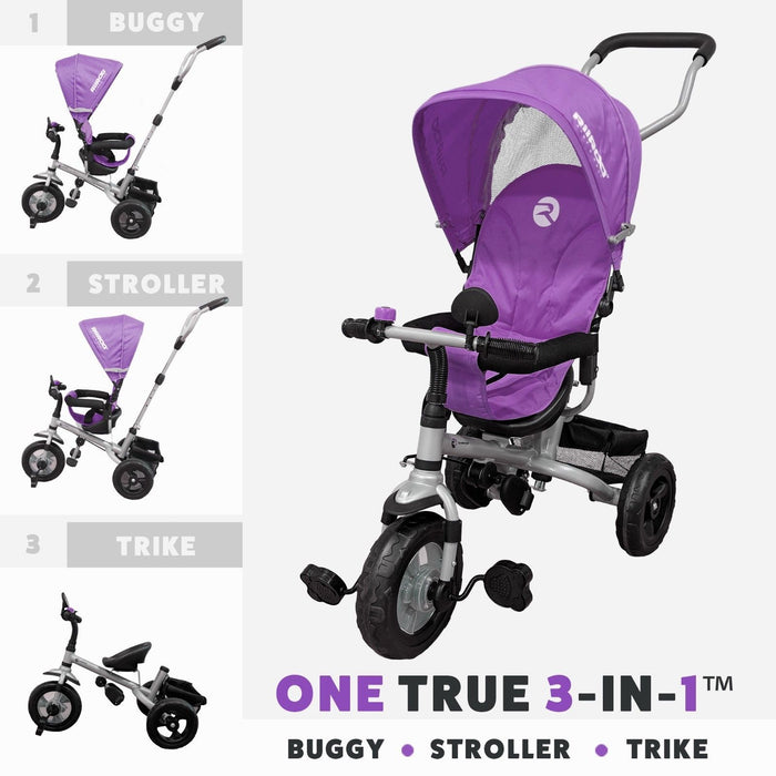 RiiRoo 3 Wheel Trike For Toddlers Ride On Buggy Handle Bar 3 In 1 Purple