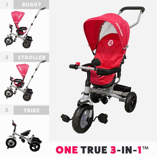 RiiRoo 3 Wheel Trike For Toddlers Ride On Buggy Handle Bar 3 In 1 Red