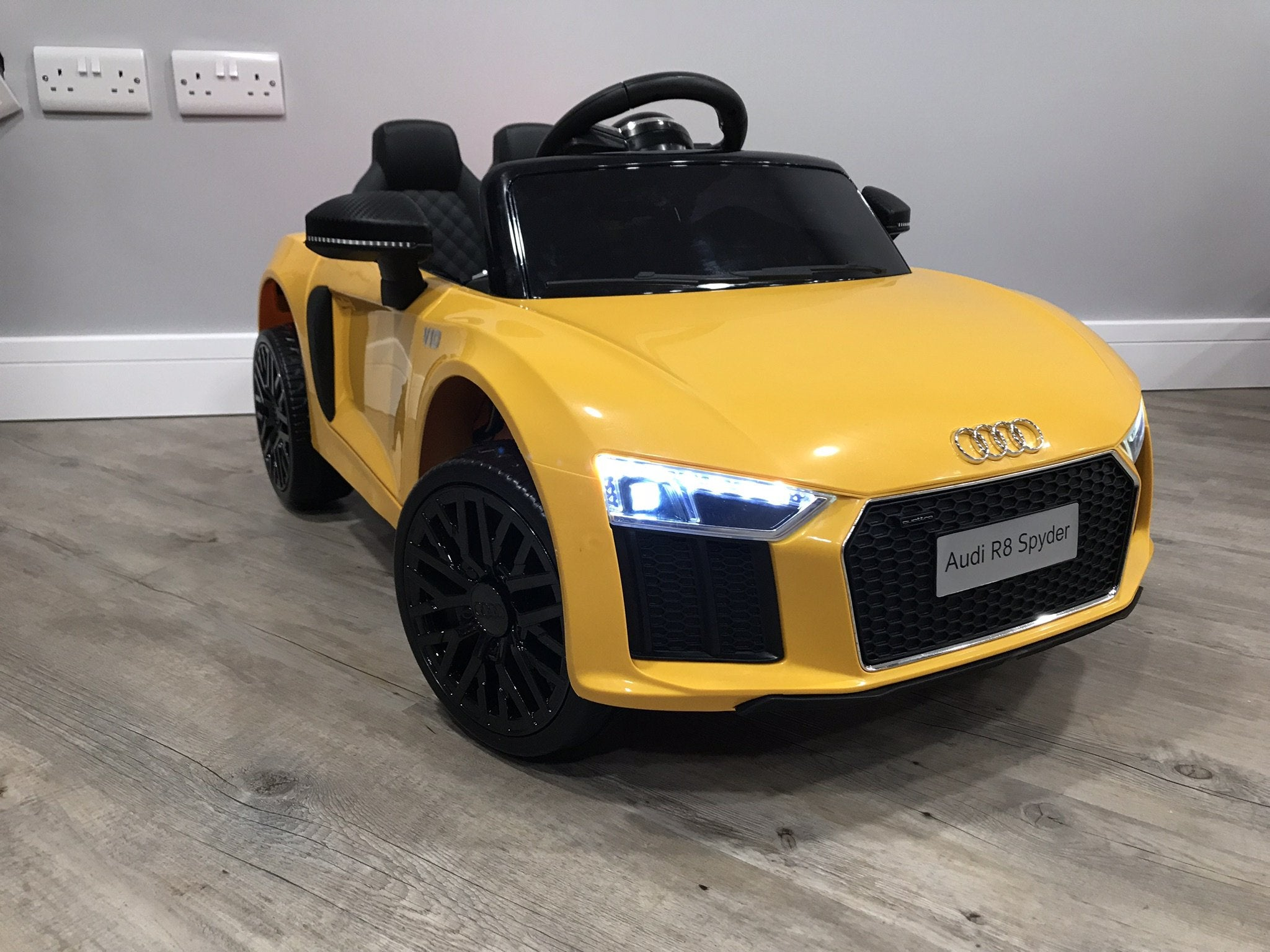 Audi R8 Spyder Super Sports Car 12v Electric Ride On Car In Yellow