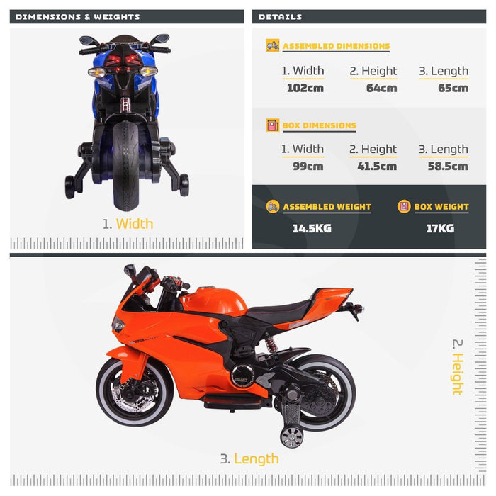 RiiRoo Ducati Style 12V Ride On Motorbike with MP3