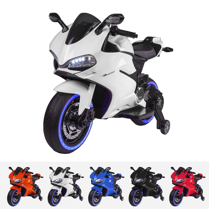 RiiRoo Ducati Style 12V Ride On Motorbike with MP3 White