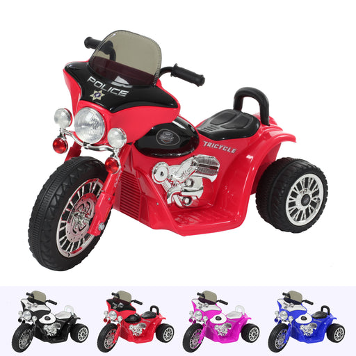 RiiRoo Harley Style Police Ride On Motorbike/Trike - 6V Red