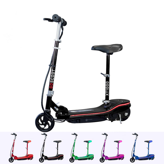 RiiRoo Kids Electric Scooter With Seat & LED's Black