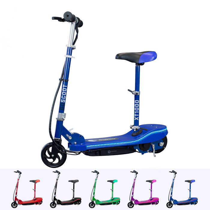 RiiRoo Kids Electric Scooter With Seat & LED's Blue