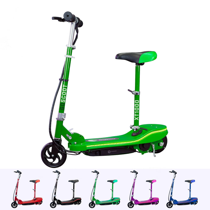 RiiRoo Kids Electric Scooter With Seat & LED's Green