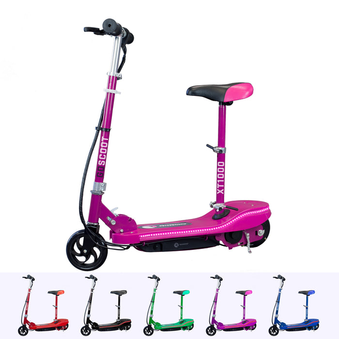 RiiRoo Kids Electric Scooter With Seat & LED's Pink