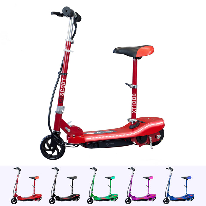 RiiRoo Kids Electric Scooter With Seat & LED's Red