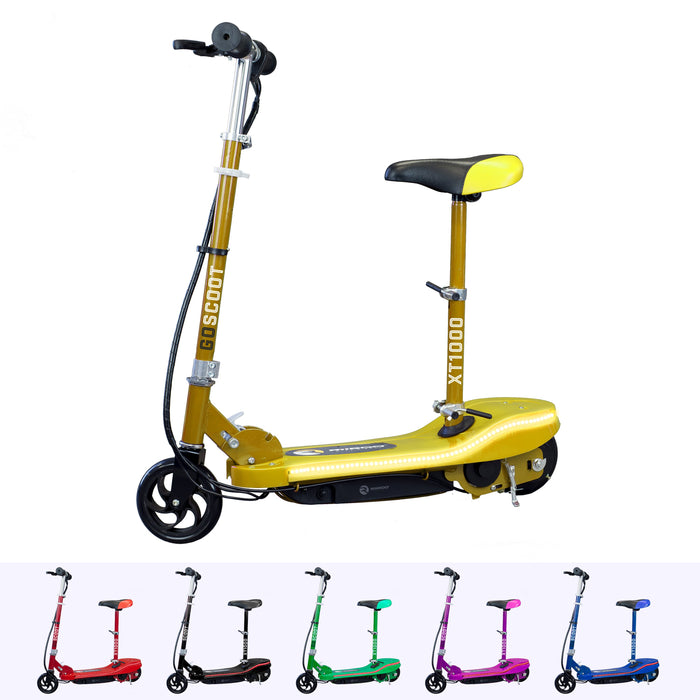 RiiRoo Kids Electric Scooter With Seat & LED's Yellow