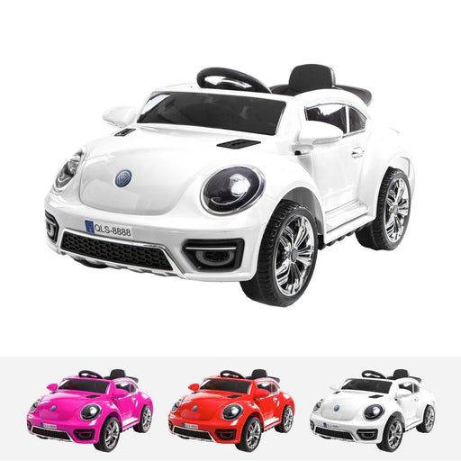 RiiRoo Kids VW Beetle Style Ride on Car - 12v Battery White