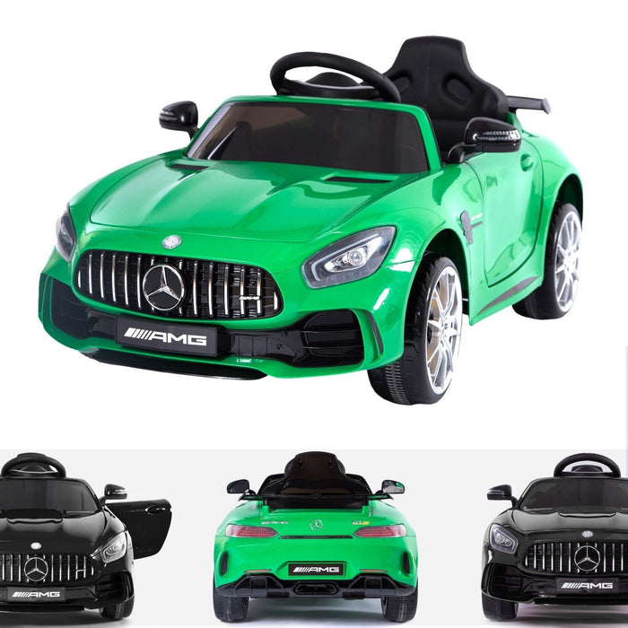 RiiRoo Mercedes Benz AMG GT R Ride On Car in green and black
