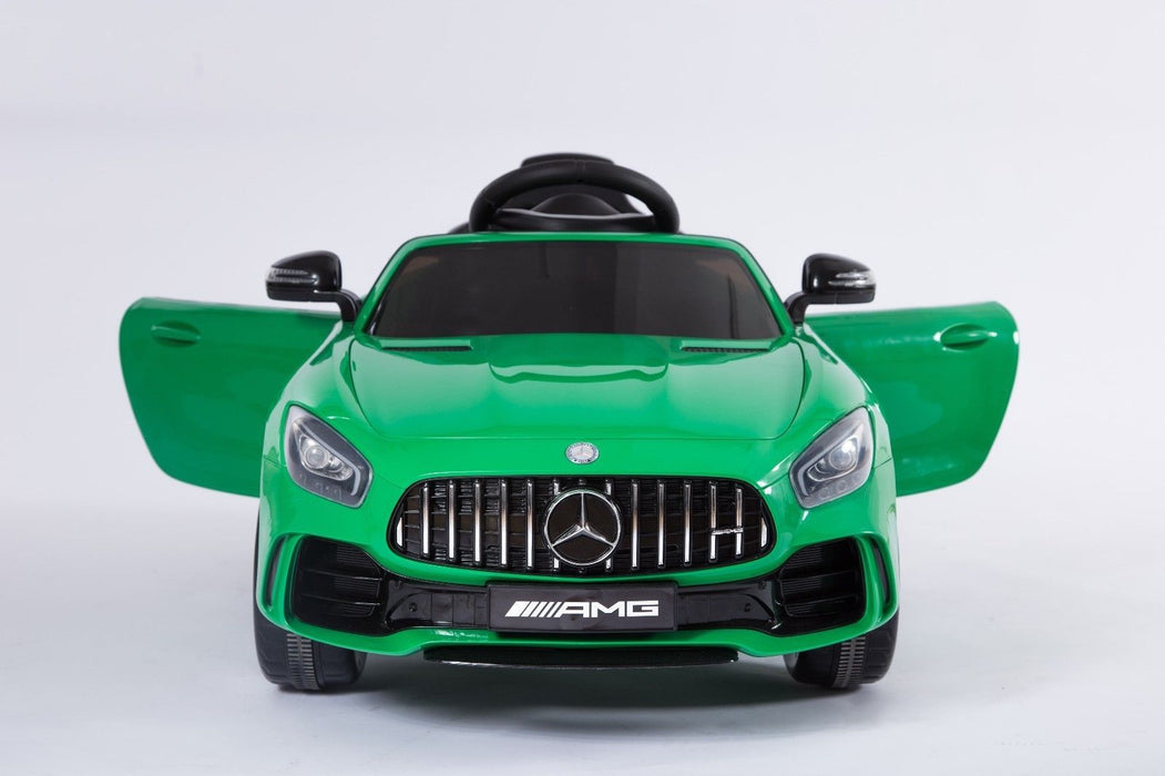RiiRoo Mercedes Benz AMG GT R Ride On Car in green with doors open