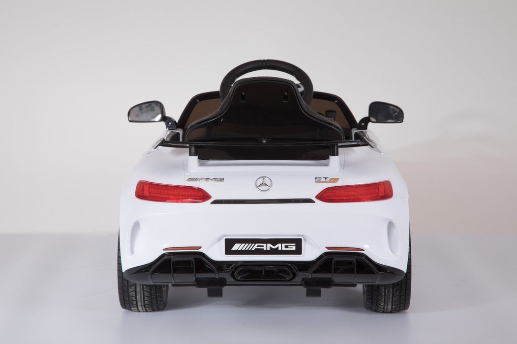 RiiRoo Mercedes Benz AMG GT R Ride On Car in white back view