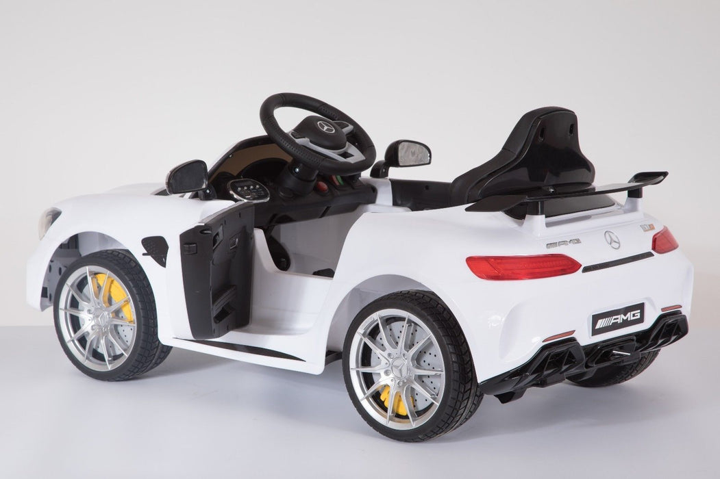 RiiRoo Mercedes Benz AMG GT R Ride On Car in white  with door open