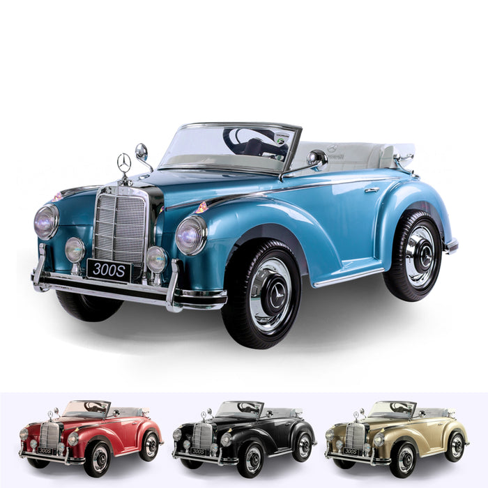 RiiRoo Mercedes Benz Classic 300S Ride on Car- 12V 2WD Blue