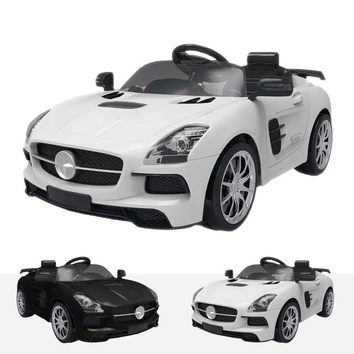 RiiRoo Mercedes SLS Style Ride On Car in black and white White