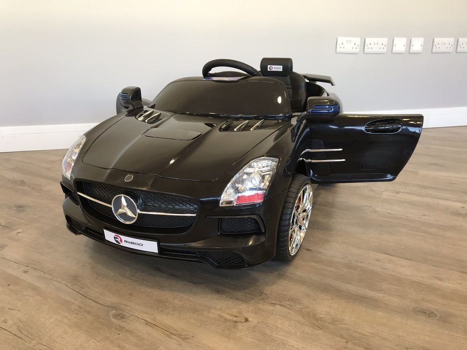RiiRoo Mercedes SLS Style Ride On Car  in black with door open Black