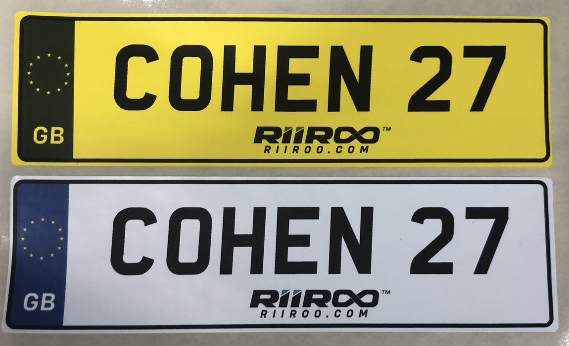 RiiRoo Personalised Self-Adhesive 14 x 4 cm Number Plate Stickers For Childrens Kids Ride on Car - EU Stars