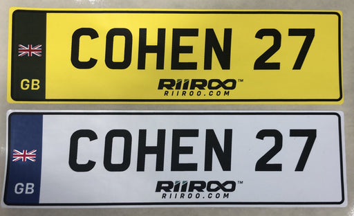 RiiRoo Personalised Self-Adhesive 14 x 4 cm Number Plate Stickers For Childrens Kids Ride on Car - UK Flag