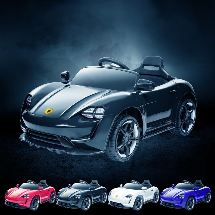 RiiRoo Porsche Mission E Taycan Style Ride on Car - 12V 2WD Black