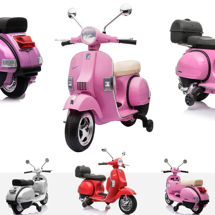 RiiRoo Vespa Licensed PX150 12V Kids Electric Ride On Battery Powered Motorbike Pink