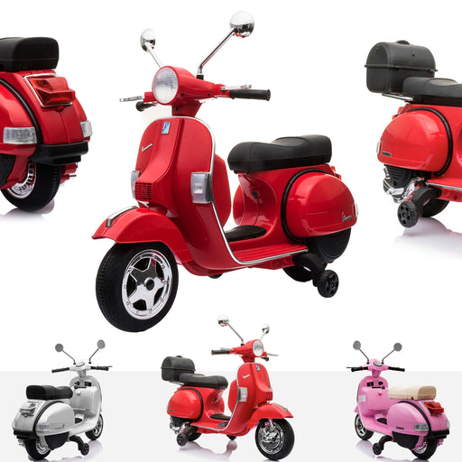 RiiRoo Vespa Licensed PX150 12V Kids Electric Ride On Battery Powered Motorbike Red