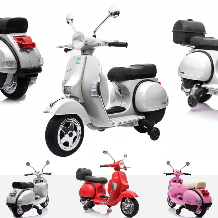 RiiRoo Vespa Licensed PX150 12V Kids Electric Ride On Battery Powered Motorbike White
