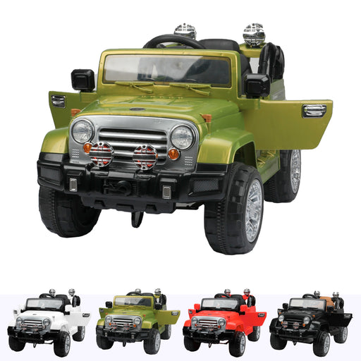 wranggler 2 green1 Green jeep wrangler style ride on suv car electric battery 12v music remote