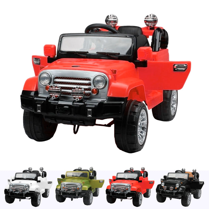 wranggler 2 red Red jeep wrangler style ride on suv car electric battery 12v music remote