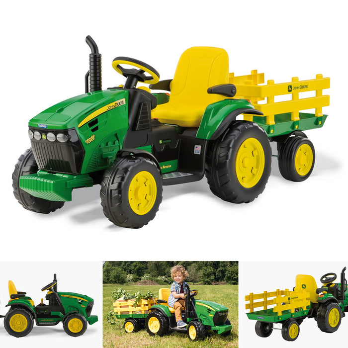 Peg Perego John Deere Ground Force with Trailer  - Green & Yellow