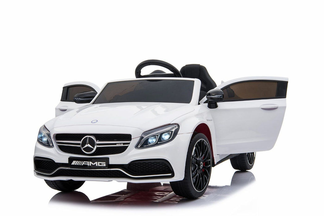 mercedes benz c63 amg licensed ride on car in white with remote control. Black Bedroom Furniture Sets. Home Design Ideas