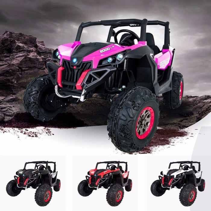 riiroo utv mx kids ride on electric buggy quad bike parental remote mp3 usb 4wd pink 1800x1800 Pink 2