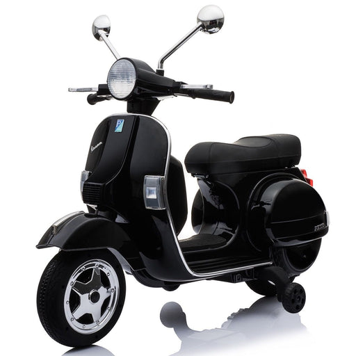 vespa px150 12v ride on black1 1 Black licensed kids electric scooter battery powered motorbike