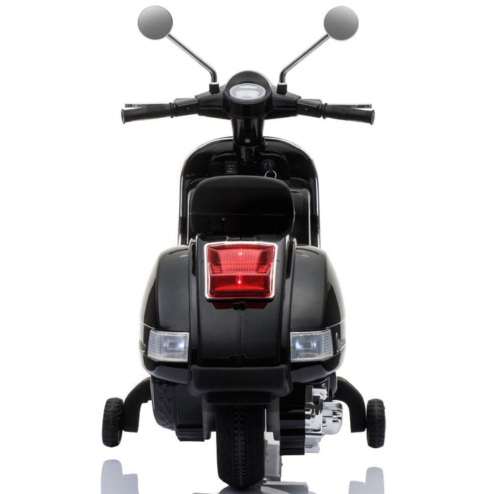vespa px150 12v ride on black2 1 licensed kids electric scooter battery powered motorbike