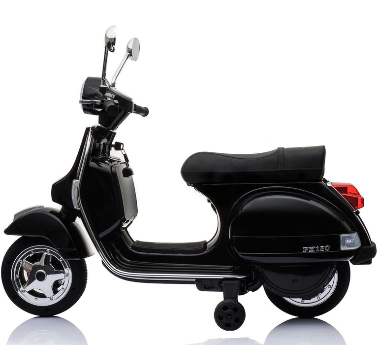 vespa px150 12v ride on black 1 licensed kids electric scooter battery powered motorbike