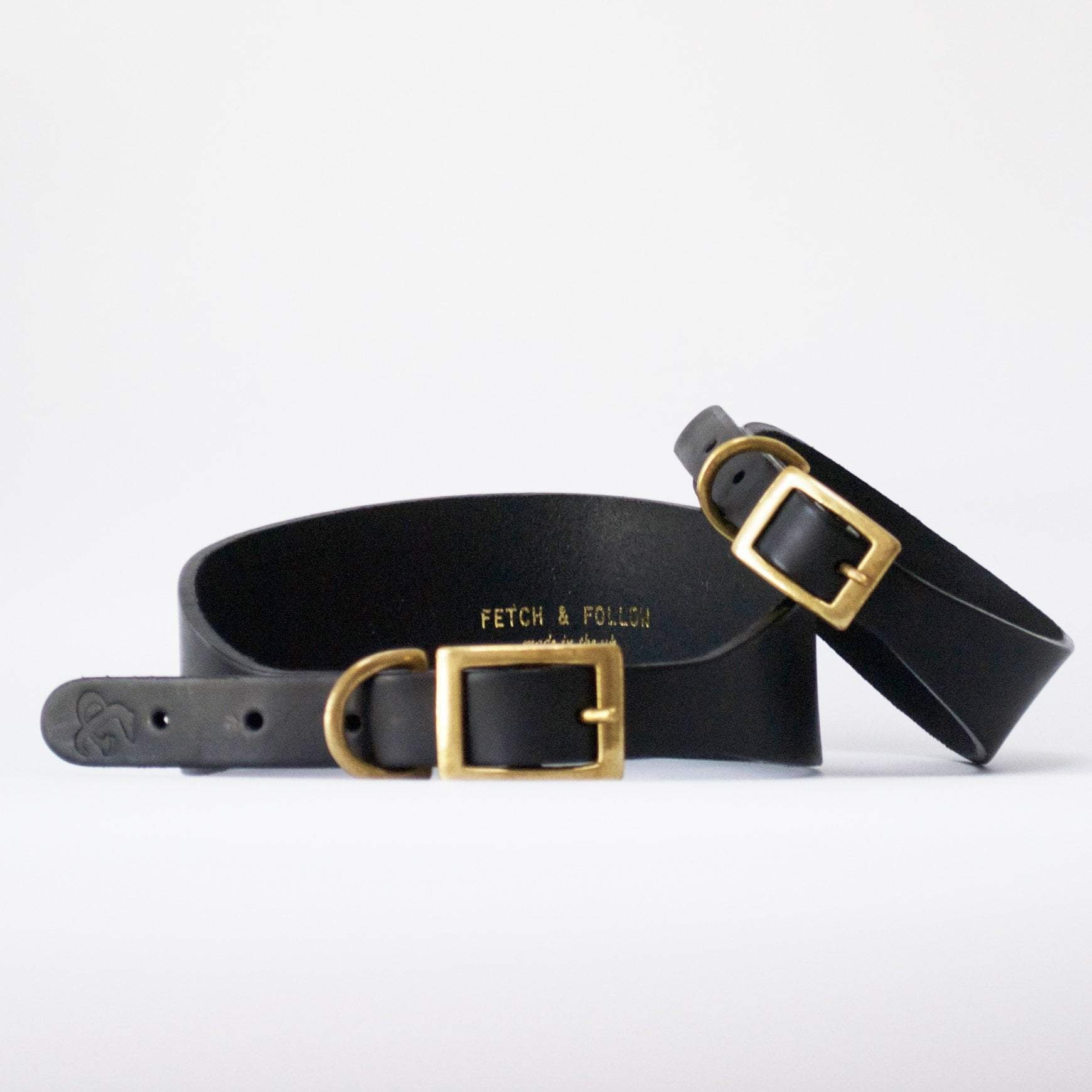 Fetch and Follow Hound Leather Collar - Black