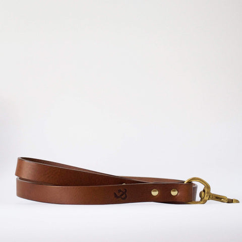Fetch and Follow Classic Leather Leash - Tan