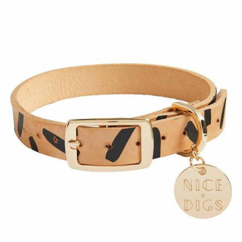 Nice Digs Tiggy Leather Collar - Black XS