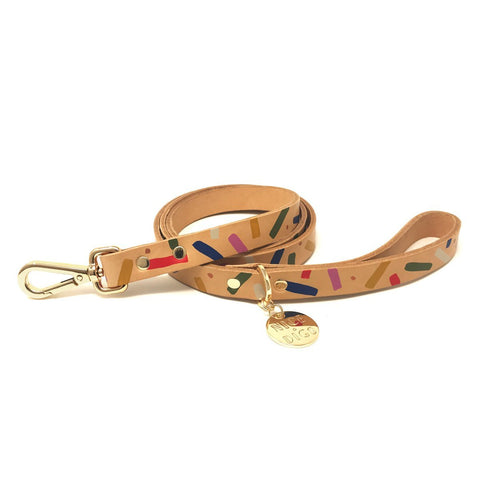 Nice Digs Jungle Confetti Leather Leash