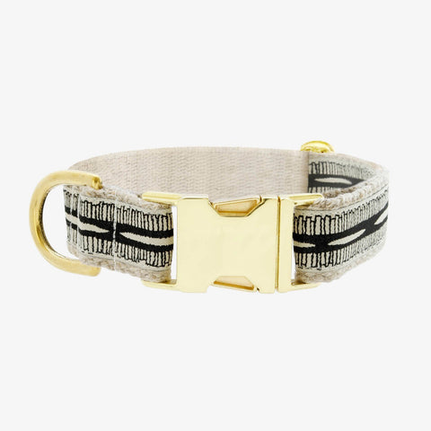 See Scout Sleep Braveheart Brass Collar - Black and Cream