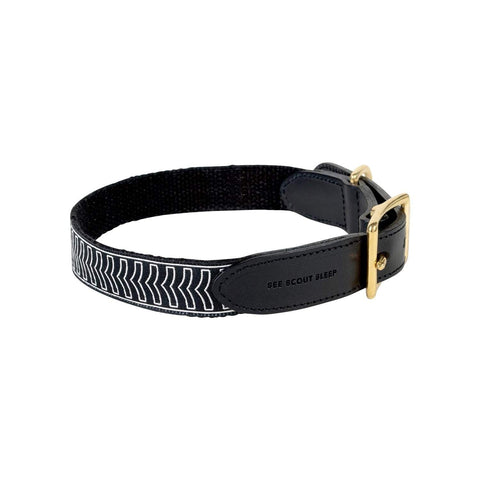 See Scout Sleep Chef L'Bark Leather Collar - Black & Cream