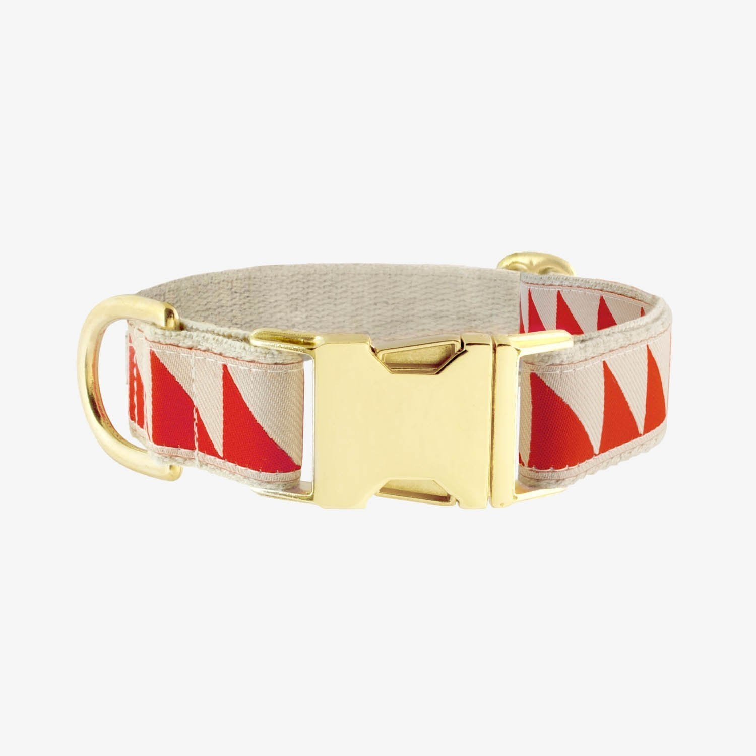 See Scout Sleep Nice Grill Brass Collar - Vermillion and Cream