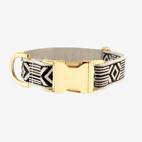 See Scout Sleep Out of My Box Brass Collar  - Black and Cream