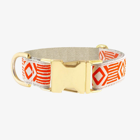 See Scout Sleep Out of My Box Brass Collar - Vermillion and Cream