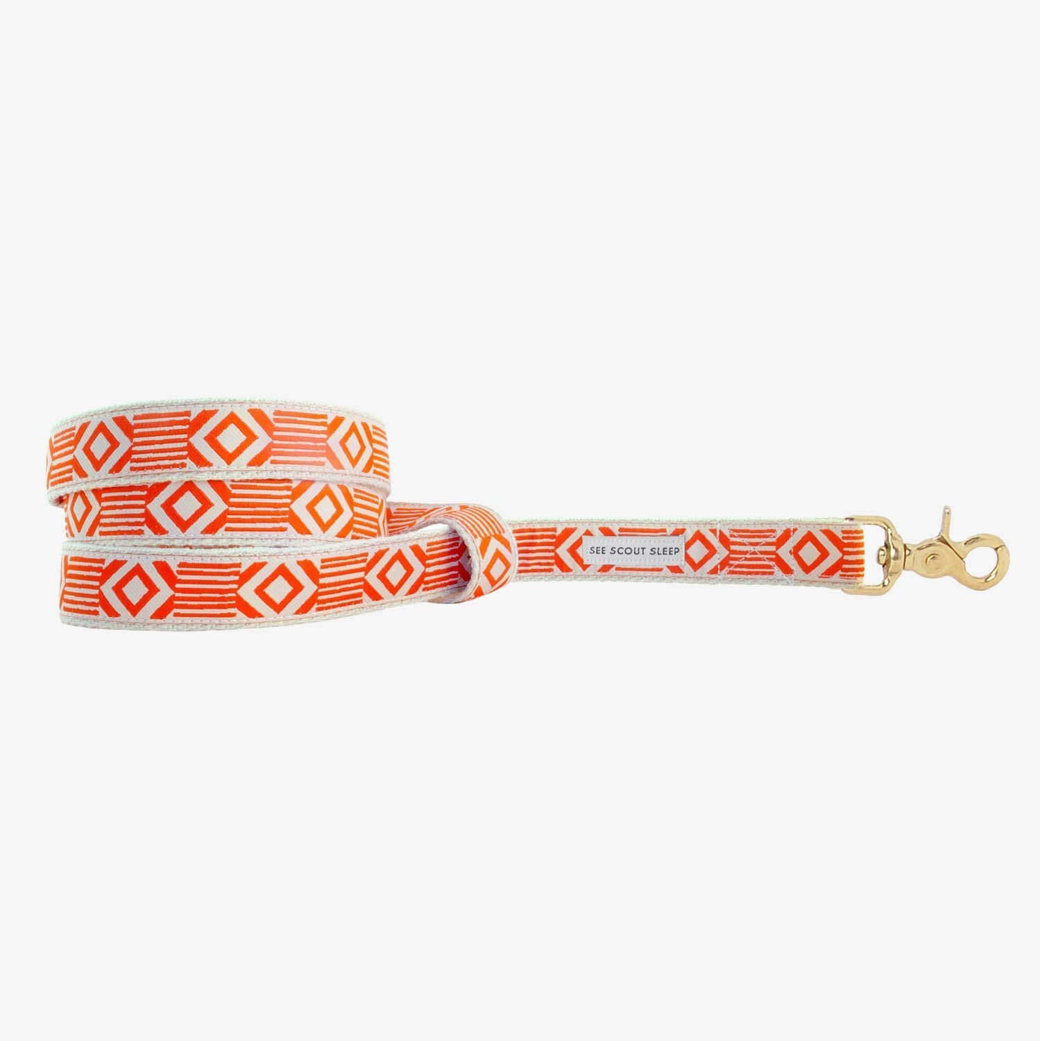 See Scout Sleep Out of the Box Standard Leash - Vermillion and Cream