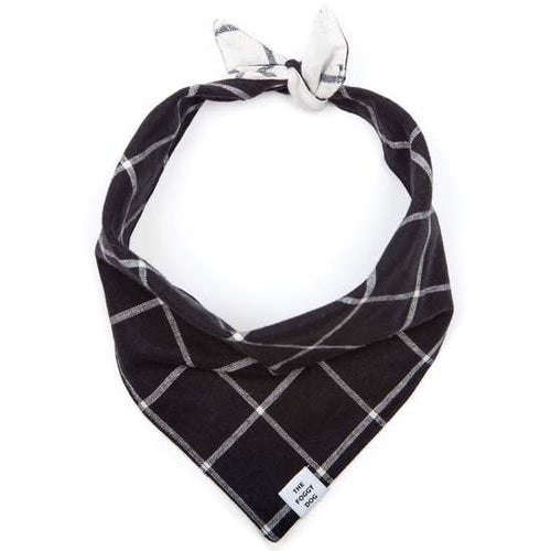 The Foggy Dog Dog Bandana - Check Black (Reversible)