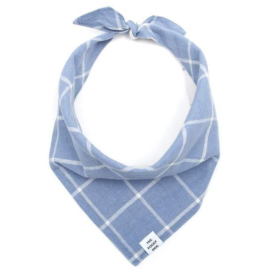 The Foggy Dog Dog Bandana - Check Dusty Blue (Reversible)