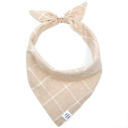 The Foggy Dog Dog Bandana - Check Flax (Reversible)