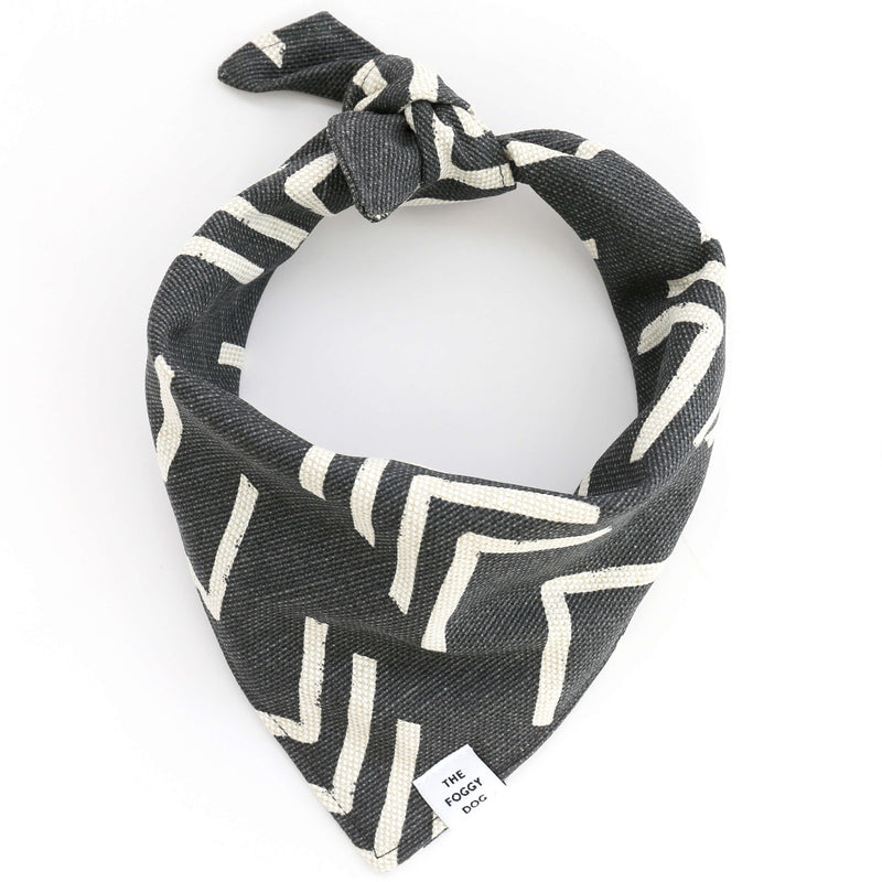 Dog Bandana - Modern Mud Cloth Black