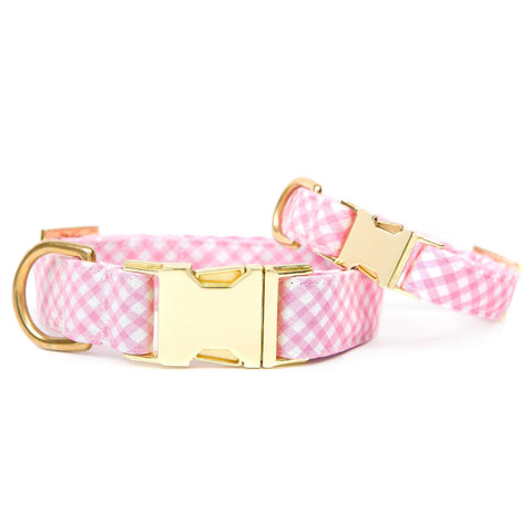 The Foggy Dog Carnation Gingham Dog Collar